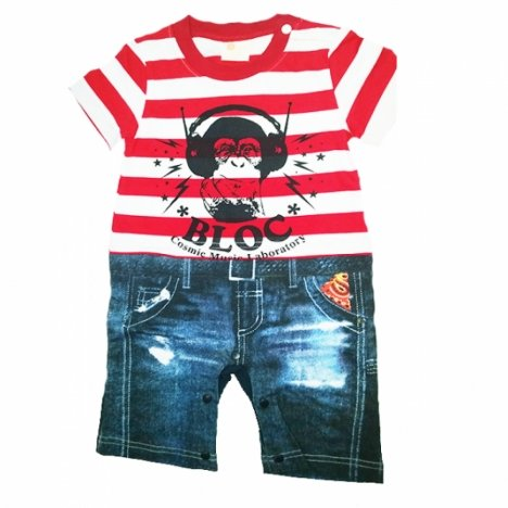 Costum bebe crazy monkey Cool Elves, rosu,